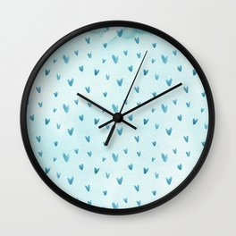 Hand painted pastel blue watercolor hearts pattern Wall Clock