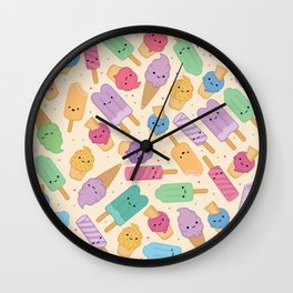 Ice Cream Pattern Wall Clock