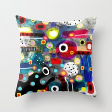 Abstract Grungy Distressed Art Dark Polka Dots Throw Pillow