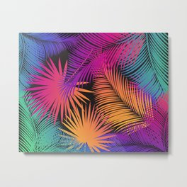 Tropical Palm Leaves Rainbow Color Contemporary Art Metal Print
