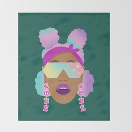 Top Puffs Girl #naturalhair #rainbowhair #shades #lipstick #blackunicorn #curlygirl Throw Blanket