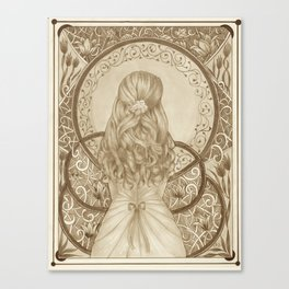 Art Nouveau Girl (Sepia) Canvas Print