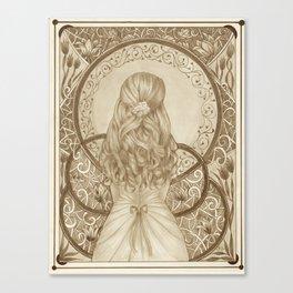 Art Nouveau Girl (Sepia) Canvas Print
