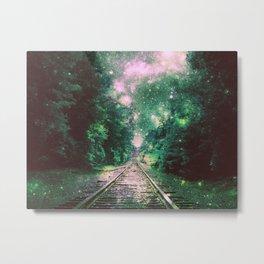 Dream Train Tracks Shades of Green Metal Print