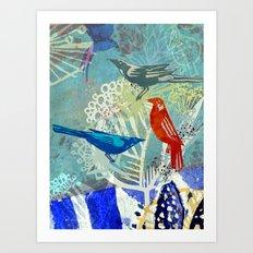 Birds in the backyard. Art Print