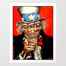 Uncle Zombie Sam Art Print