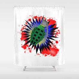 Grenade Comic Exclamation Shower Curtain