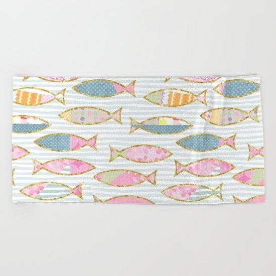 Fancy Fish pastel patchwork pattern Beach Towel