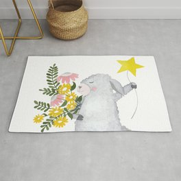 little lamb with flowers watercolor illustration Rug