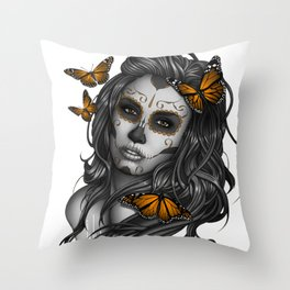 Sugar Skull Tattoo Girl with Butterflies Throw Pillow