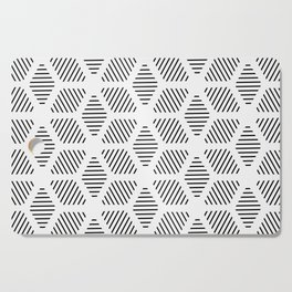 Geometric Line Lines Diamond Shape Tribal Ethnic Pattern Simple Simplistic Minimal Black and White Cutting Board