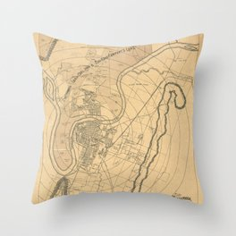 Map Of Chattanooga 1870 Throw Pillow