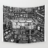 cabin Wall Tapestries featuring Lost cabin 666 by Marcelo Romero