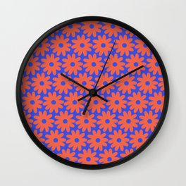 Crayon Flowers Cheerful Smudgy Floral Pattern in Coral and Bright Blue Wall Clock