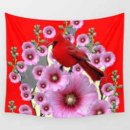 MODERN  RED ART PINK HOLLYHOCKS & RED CARDINAL BIRD Wall Tapestry