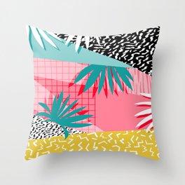 Bingo - throwback retro memphis neon tropical socal desert festival trendy hipster pattern pop art Throw Pillow