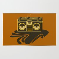 radio Area & Throw Rugs featuring Radio Head by Dambar Thapa