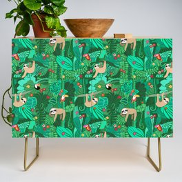 Sloths in the Emerald Jungle Pattern Credenza