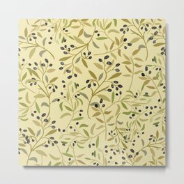 Olive branches pattern Metal Print