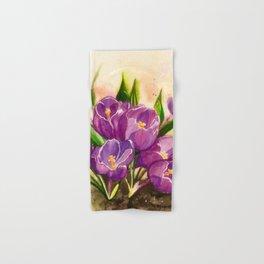Crocuses Watercolor Painting Hand & Bath Towel