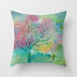 Colorful Spring Magic Tree painting Throw Pillow