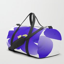 Large Retro Blue Flowers #1 White Background #decor #society6 #buyart Duffle Bag