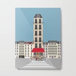 Paris, France | Parisian Cafe on the Street Metal Print