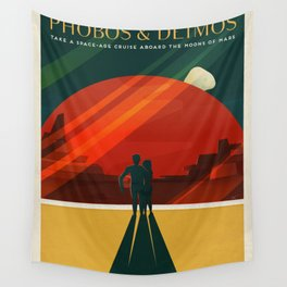 SpaceX Travel Poster: Phobos and Deimos, Moons of Mars Wall Tapestry