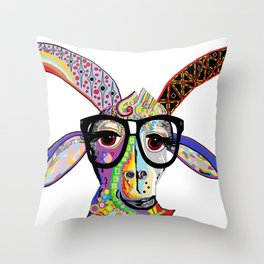 Hipster Goat Throw Pillow