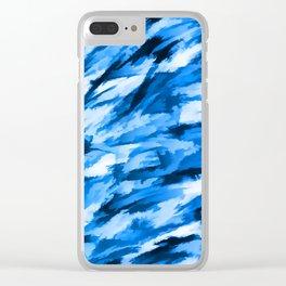 Blue Designer Camo Clear iPhone Case