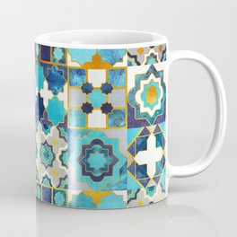 Spanish moroccan tiles inspiration // turquoise blue golden lines Coffee Mug