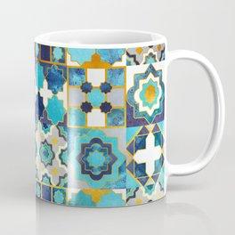 Spanish moroccan tiles inspiration // turquoise blue golden lines Coffee Mug