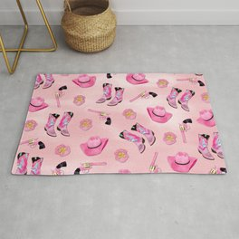 Artsy Cute Girly Pink Teal Cowgirl Watercolor Rug