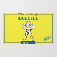 fallout Area & Throw Rugs featuring Strength S.P.E.C.I.A.L. Fallout 4 by sgrunfo