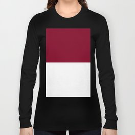 White and Burgundy Red Horizontal Halves Long Sleeve T-shirt