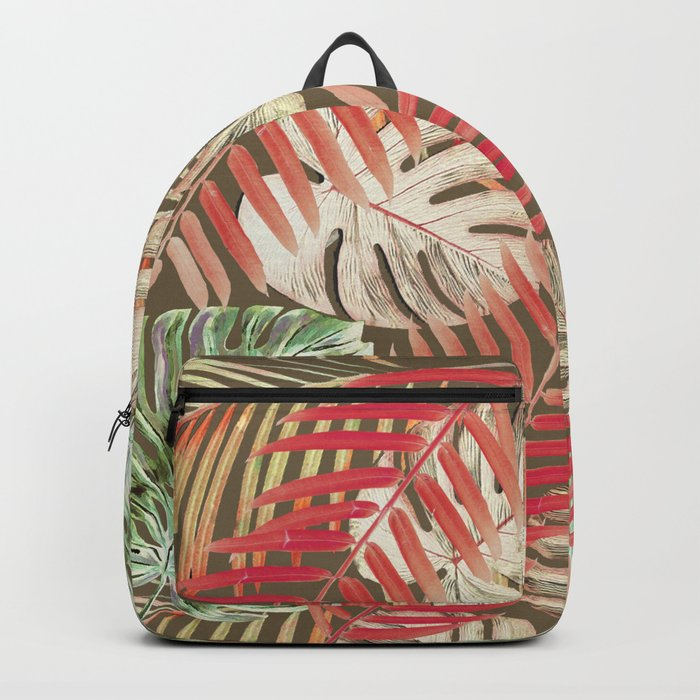 Jungle Tangle Red On Brown Backpack