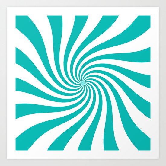 Swirl (Tiffany Blue/White) Art Print