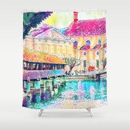 Lucerne Watercolour Shower Curtain