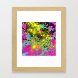 Stargazer - Abstract cyan, black, purple and yellow oil painting Framed Art Print