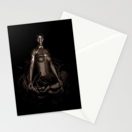 Black Queen Artistic Nude African American Woman  Rose  Stationery Cards