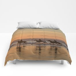 Sunset Horse Ride Comforters