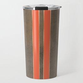 Vintage Hipster Retro Design - Brown Leather with Gold and Orange Stripes Travel Mug