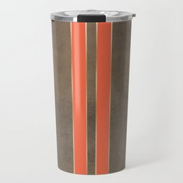 Vintage Hipster Retro Design - Brown Leather with Gold and Orange Stripes Travel Mug