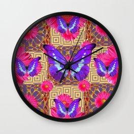 Purple Butterflies Pattern Purple-Pink Flowers Gold Art Wall Clock