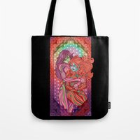 evangelion Tote Bags featuring Evangelion - Mari and Asuka  by Morgane Grosdidier de Matons