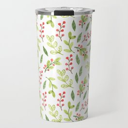 Bright Watercolor Christmas Mistletoe Pattern Travel Mug