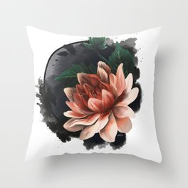 Ink and flowers Throw Pillow