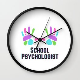 School Psychologist with Colored Hands Wall Clock