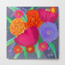 Vibrant Flower Bouquet Oil Painting with Tulips, Lavender and Roses  Metal Print
