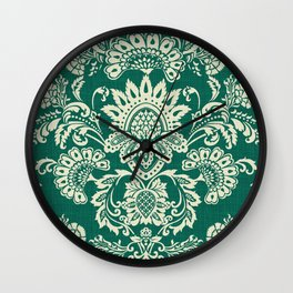 Damask vintage in green Wall Clock